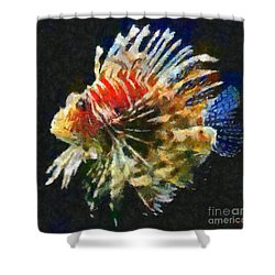 Shower Curtain featuring the painting Lionfish by Dragica  Micki Fortuna
