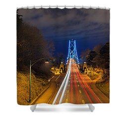 Lions Gate Bridge Light Trails Shower Curtain by David Gn