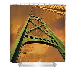 Lions Gate Bridge Tower Shower Curtain by David Gn