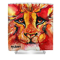Lion's Head  Red Shower Curtain