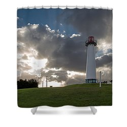 Lion's Lighthouse For Sight - 2 Shower Curtain by Ed Clark