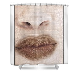 Lips And Nose. Female Shower Curtain by Michael Edwards