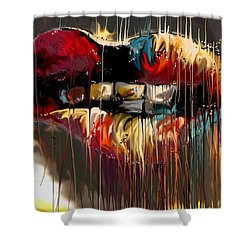 Shower Curtain featuring the digital art Lips Say It All by Darren Cannell