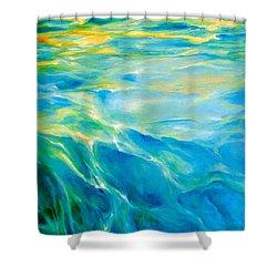 Liquid Gold Shower Curtain by Dina Dargo