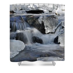 Shower Curtain featuring the photograph Winter Waterfall In Maine by Glenn Gordon