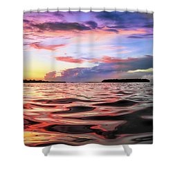 Liquid Red Shower Curtain