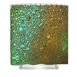 Liquid Turquoise Gold Shower Curtain by Bruce Pritchett