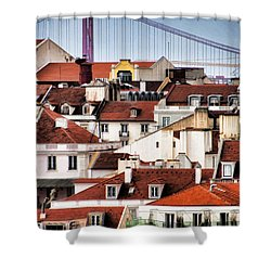 Lisbon Rooftops Shower Curtain by Dennis Cox WorldViews