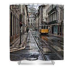 Shower Curtain featuring the photograph Lisbon Streets by Jorge Maia