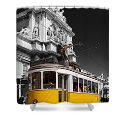 Lisbon's Typical Yellow Tram In Commerce Square Shower Curtain by Jose Elias - Sofia Pereira