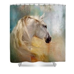 Shower Curtain featuring the digital art Listen To The Wind- Harley by Dorota Kudyba
