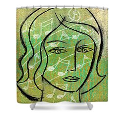 Shower Curtain featuring the painting Listening To Music by Leon Zernitsky
