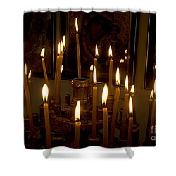 lit Candles in church  Shower Curtain by Danny Yanai