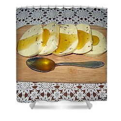 Lithuanian National Food. Cottage Cheese With Honey. Shower Curtain by Ausra Huntington nee Paulauskaite