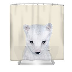 Shower Curtain featuring the painting Little Arctic Fox by Bri B