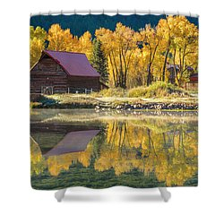 Little Barn By The Lake Shower Curtain by Teri Virbickis