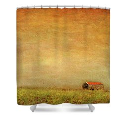 Shower Curtain featuring the photograph Little Barn On The Hill by Wallaroo Images