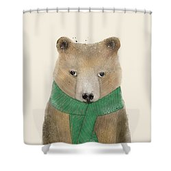 Shower Curtain featuring the painting Little Bear Brown by Bri B