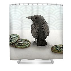 Little Bird And Coins Shower Curtain