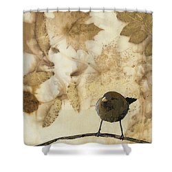 Little Bird On Silk With Leaves Shower Curtain by Carolyn Doe
