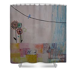 Shower Curtain featuring the painting Little Birdie by Ashley Price