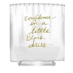 Little Black Dress Gold- Art By Linda Woods Shower Curtain