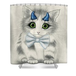 Shower Curtain featuring the drawing Little Blue Horns - Devil Kitten by Carrie Hawks