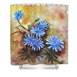 Little Blues Shower Curtain by Jana Goode