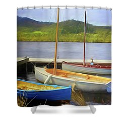 Shower Curtain featuring the photograph Little Boats On The Huon by Wallaroo Images