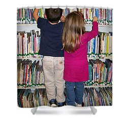 Shower Curtain featuring the digital art Little Bookworms by Barbara S Nickerson