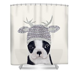 Shower Curtain featuring the painting Little Boston Deer by Bri B
