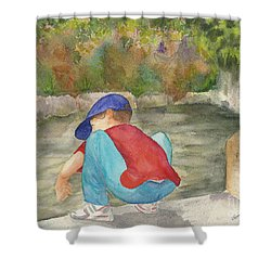 Little Boy At Japanese Garden Shower Curtain