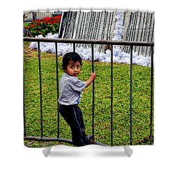 Little Boy In Peru Shower Curtain