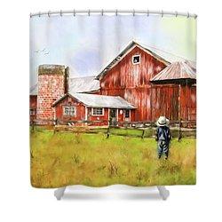 Little Boy On The Farm Shower Curtain