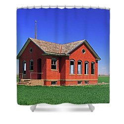Little Brick School House Shower Curtain