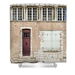 Shower Curtain featuring the photograph Little Brown Door by Melanie Alexandra Price