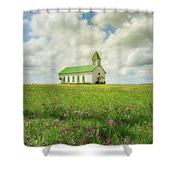 Shower Curtain featuring the photograph Little Church On Hill Of Wildflowers by Robert Frederick