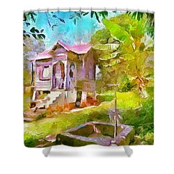Caribbean Scenes - Little Country House Shower Curtain