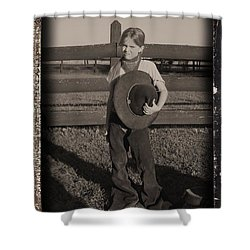Little Cowgirl, Big Hat Shower Curtain by Traci Goebel