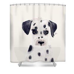Shower Curtain featuring the painting Little Dalmatian by Bri B