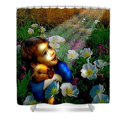 Shower Curtain featuring the digital art Little Dog Lost by Seth Weaver
