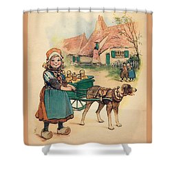 Little Dutch Girl With Milk Wagon Shower Curtain