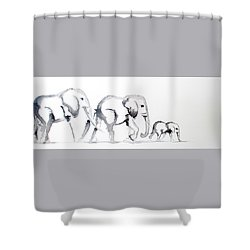 Little Elephant Family Shower Curtain