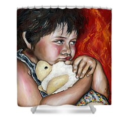 Little Fighter Shower Curtain by Hiroko Sakai