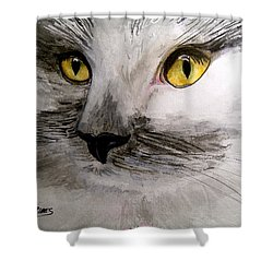 Shower Curtain featuring the painting Little Fluffy by Carol Grimes