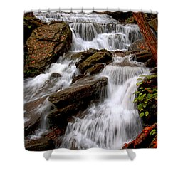 Shower Curtain featuring the photograph Little Four Mile Run Falls by Suzanne Stout