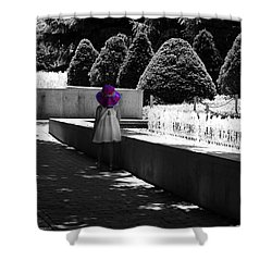 Little Girl In Magenta Hat Black And White Selective Color Shower Curtain