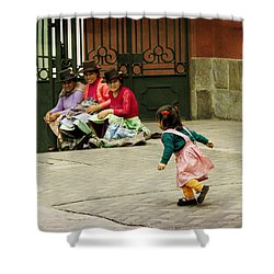 Little Girl On The Streets Of Lima, Peru Shower Curtain