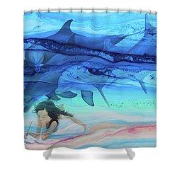 Little Girl Painter Shower Curtain