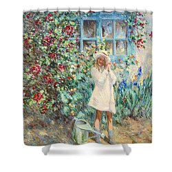 Little Girl With Roses  Shower Curtain